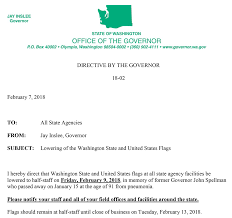 Flags Today At Half Mast Flags To Be Flown At Half Staff For Former Wa Governor And Wife