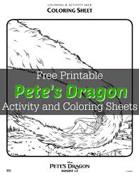 pete u0027s dragon activity coloring sheets free printable