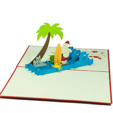 surfing santa pop up card custom 3d card manufacture charm pop berlin