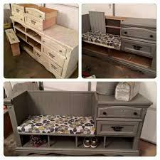 simple repurposed entryway bench with shoe storage and drawers