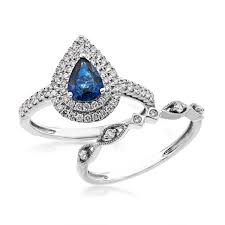 diamond wedding sets pear shape sapphire and diamond wedding set in 14 kt white gold