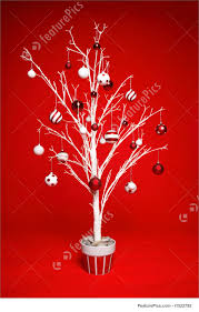 christmas tree with red and white baubles picture