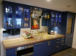 Lighted Bar Cabinet Kenmore Modern Kitchen Remodel With 3 Cabinet Finishes