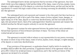 example document for settlement and release agreement