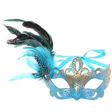 teal masquerade masks new fashion painted venetian mask princess feather