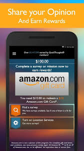 earn gift cards quickthoughts take surveys earn gift card rewards android apps