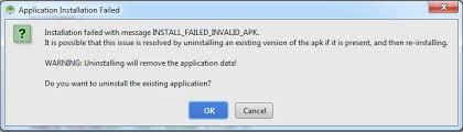 the apk android delete failed internal error error while installing apk