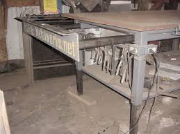 Welding Table Plans by Beefy Welding Table Made Of Scavenged I Beams Well H Beams Or