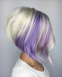 short hairstyles with peekaboo purple layer purple and blonde stacked bob fun hair pinterest stacked