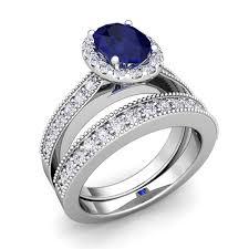 wedding ring bridal set milgrain sapphire engagement ring bridal set platinum 8x6mm