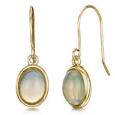 gold earrings uk 9ct yellow gold opal drop earrings 9ct gold earrings at elma uk