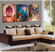 living room canvas 3 panel buddha image portrait art wall art picture home decoration