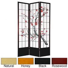 handmade wood and rice paper cherry blossom 84 inch shoji screen