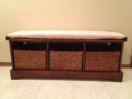 home entryway bench with storage baskets u2014 railing stairs and
