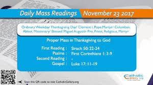 daily mass readings 23 november 2017 thursday thanksgiving