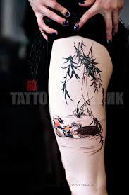 watercolor style colored thigh of swimming birds and tree