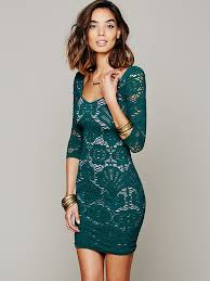 free people three quarter sleeved seamless medallion bodycon dress