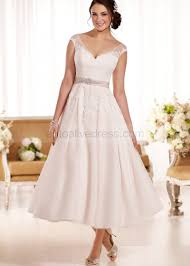 wedding tulle a line v neckline tea length ivory lace tulle wedding dress with