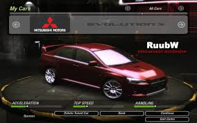 evo 10 need for speed underground 2 mitsubishi lancer evo x v1 3 nfscars