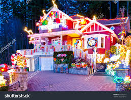 beautiful home decorated lighted christmas new stock photo