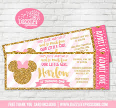minnie mouse thank you cards printable pink and gold minnie mouse inspired ticket birthday