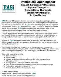 therapy openings current openings easi therapy diagnostic services