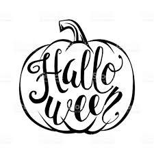 hand drawn halloween script text with pumpkin sketch stock vector