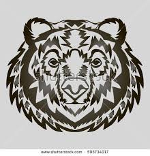 illustration hand drawn bear head tattoo stock vector 590891426