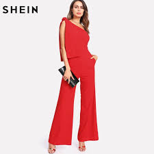 one jumpsuits shein jumpsuits summer one shoulder sleeveless mid waist