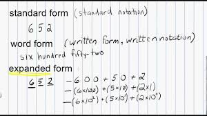 math numeration standard form word form and expanded form for
