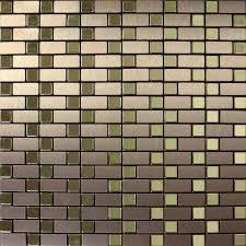 Mosaic Tile Backsplash Strip Brushed Gold Aluminum Square Dark - Brown tile backsplash