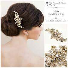 bridal hair clip gold rhinestone pearl bridal hair clip by hair comes the