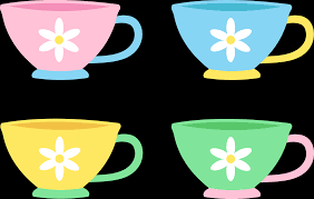 cute cup designs set of four cute pastel tea cups free clip art