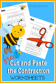 free cut and paste the contraction worksheets blessed beyond a doubt