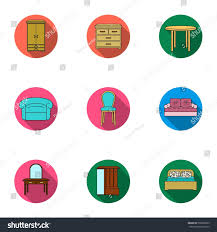 Home Interiors Collection by Furniture Home Interior Set Icons Flat Stock Vector 568609879