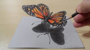 simple 3d drawings butterfly drawing of sketch