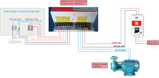 single phase submersible pump starter wiring diagram circuit and
