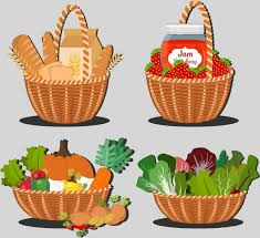 food baskets food baskets isolation bread jam vegetables icons free vector in