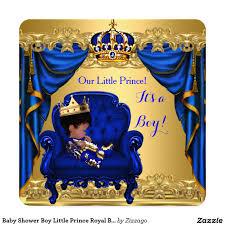 baby shower boy little prince royal blue golden card baby shower