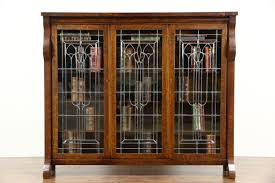 Glass Bookcase With Doors Sold Oak 1900 Antique Empire Library Bookcase Leaded