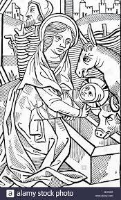 nativity french 15th century woodcut illustrating