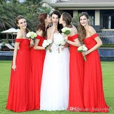 2017 new cheap red bridesmaid dresses off shoulder sweetheart