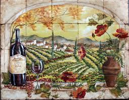 Kitchen Tile Murals Tile Art Backsplashes by Custom Hand Painted Tile Murals