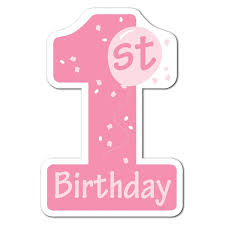 1st birthday club pack of 24 pink and white 1st birthday number one cutout