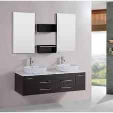 Double Vessel Sink Bathroom Vanities by Design Element Wellington 55 Inch Double Sink Bathroom Vanity Set