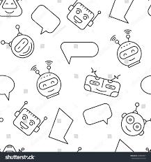 cartoon character cute robot seamless pattern stock vector