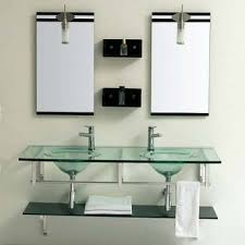 jjt glass double sink bathroom vanity vg 128 functional