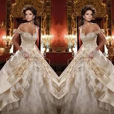 golden wedding dresses 2016 gold wedding dresses gown satin lace shoulder bridal