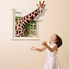 3d Wallpaper Home Decor by 3d Lovely Giraffe Wall Sticker Decal Animal Wallpaper Living Room