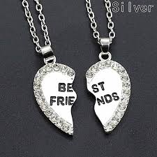 silver best friend necklace images Buy fashion best friend heart silver gold rhinestone 2 pendants jpg